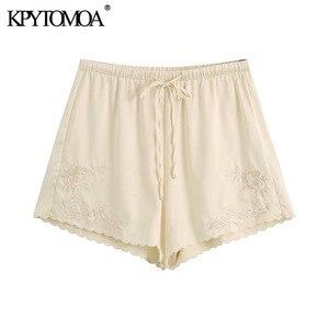 Kpytomoa 2020 chique moda rendas-aparado bordado shorts vintage cintura elástica alta com cordão feminino calças curtas mujer