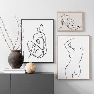 Абстрактная линия боди-арт печать настенная живопись холст скандинавские плакаты в стиле минимализма и принты настенные картины для декор...