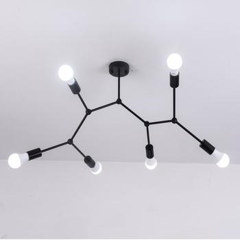 Nowoczesny żyrandol sufitowy LED oświetlenie salon sypialnia żyrandole molekularne wiele głowic kreatywne oprawy oświetleniowe do domu tanie i dobre opinie ZMJUJA CN (pochodzenie) Brak 110 v 130 v 220 v 230 v 240 v 90-260 v iron B033 Shadeless Molecular structure Montażu podtynkowego