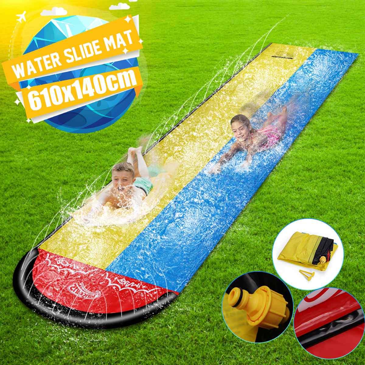 6.1M podwójna pojedyncza nadmuchiwana zjeżdżalnia wodna mata letnia narty wodne Splash zabawki na zewnątrz deska surfingowa letnie gry wodne