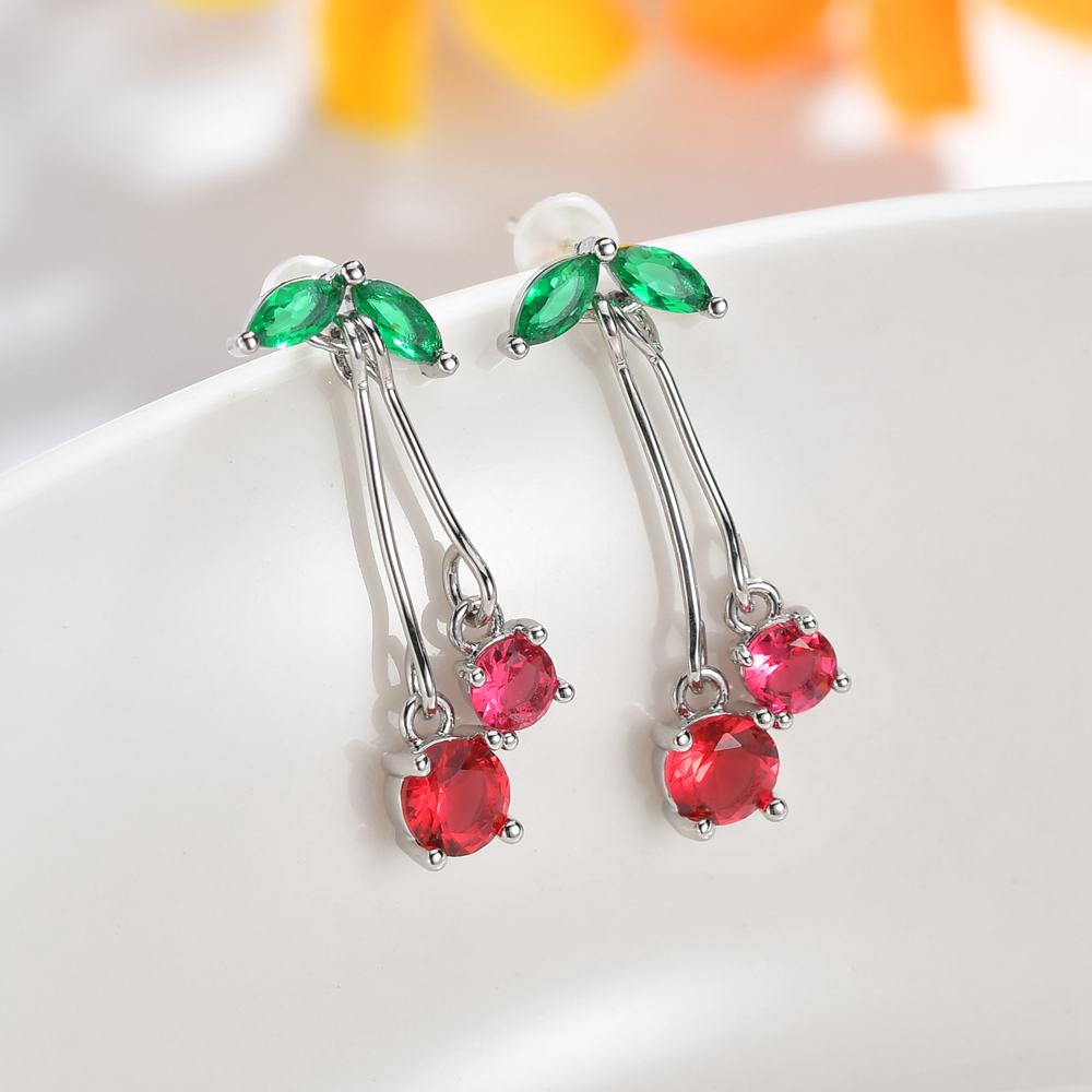 2019 New Colorful Cubic Zirconia Cherry Fruit Earrings For Women Fashion CZ Crystal Earrings Party Jewelry Drop Shipping