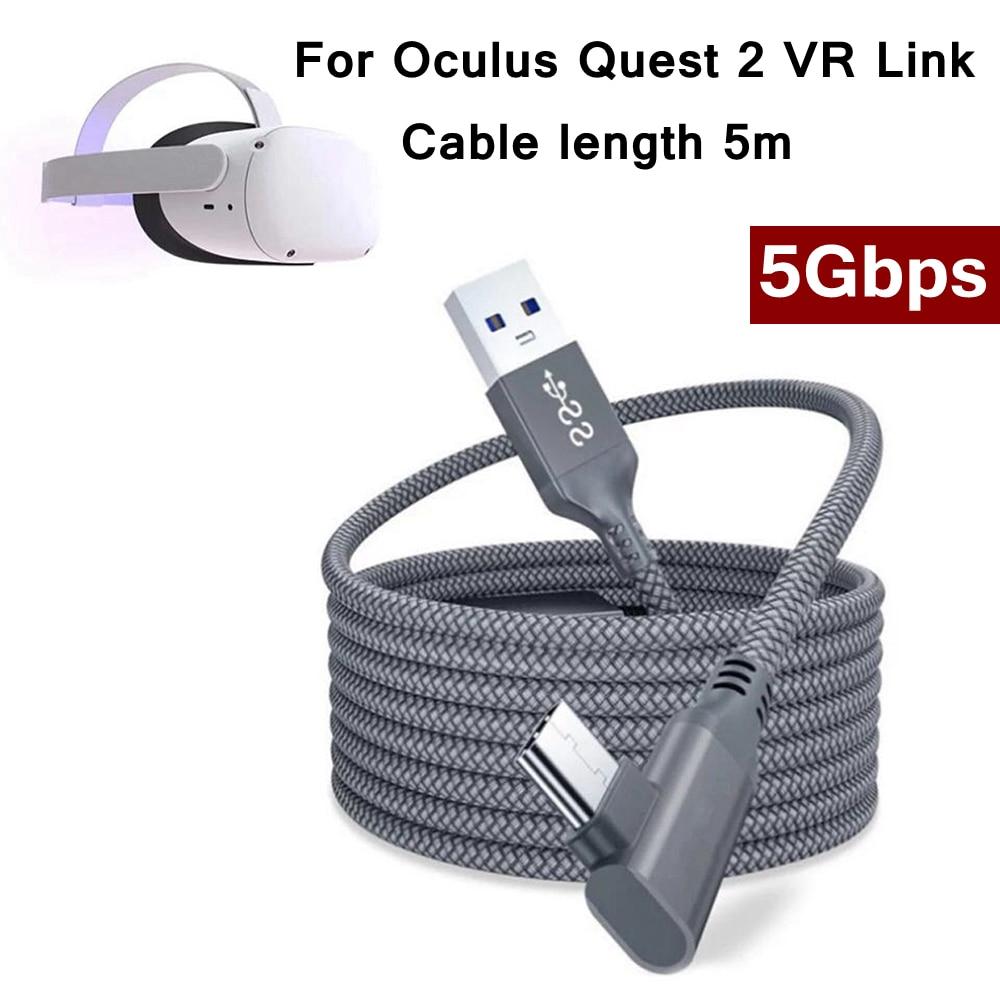 Cable de carga rápida para auriculares Oculus Quest 2, 5M, USB 3,0, transferencia de datos, carga rápida, accesorios para auriculares VR