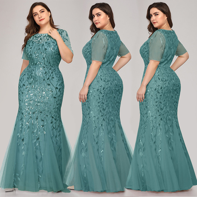 Evening Dresses Pretty Formal Dresses Plus Size Long Party Gowns Mermaid High-neck Zipper back Floor-Length Prom Dresses Fashion 5