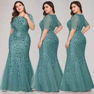 Image 5 - ערב שמלות בתוספת גודל ארוך המפלגה שמלות בת ים גבוהה צוואר רוכסן חזרה באורך רצפת שמלות נשף פאייטים ערב שמלות 2020