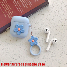 Wireless Bluetooth Earphone Case For Airpods Cute 3D Flower Candy Color Soft Silicone 2 With Finger Ring Strap