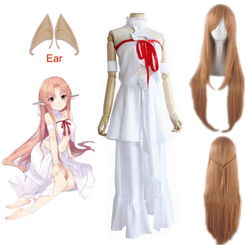 Japanese Anime Sword Art Online Yuuki Asuna Prison Dress Outfit Cosplay Costume