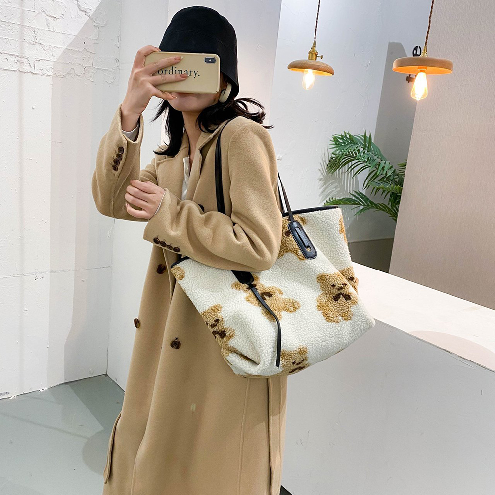 Winter New Fashion Shoulder Bag Female Bag Plush BearHandbag Messenger Bag Soft Warm Fur Bag Crossbody Bag Women 2020