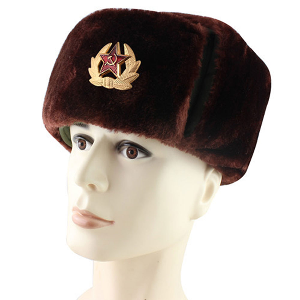 2019 New Russian Army Military Hats Pilot Hat Police Hat Winter Men Snow Cap with Earmuffs
