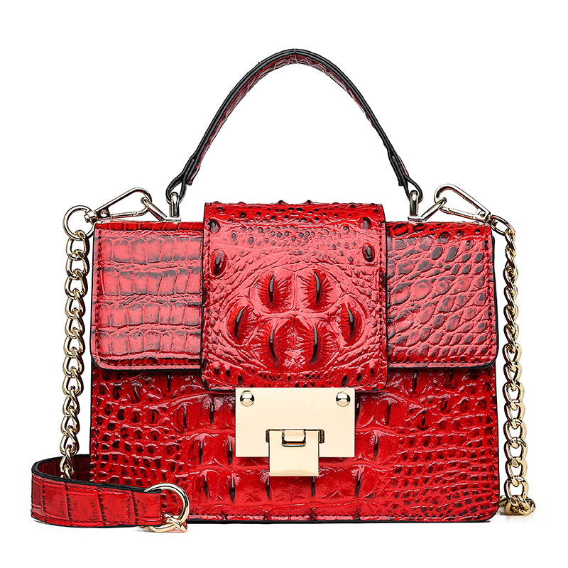 New Leather Bags Women Small Luxury Crocodile Pattern Designer Handbag Lady Alligator 2019 Crossbody Bags for Women Black Chain in Shoulder Bags from Luggage Bags