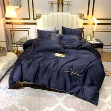 Bedding-Set Fitted-Sheet Egyptian Cotton Duvet-Cover Embroidery King Queen-Size 60S Long-Staple