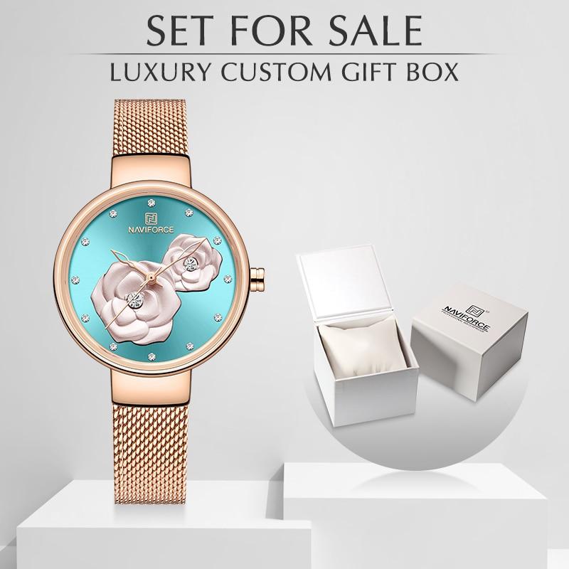 New NAVIFORCE Rose Gold Women Watches Dress Quartz Watch Ladies With Luxury Box Female Wrist Watch Girl Clock Set For Sale