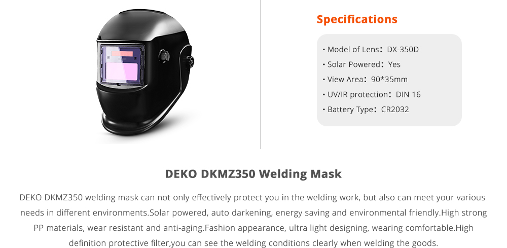 DEKO DKMZ350 Automatic Darkening Welding Mask for MIG MMA TIG Welding Helmet Goggles Light Filter Welder's Soldering Work