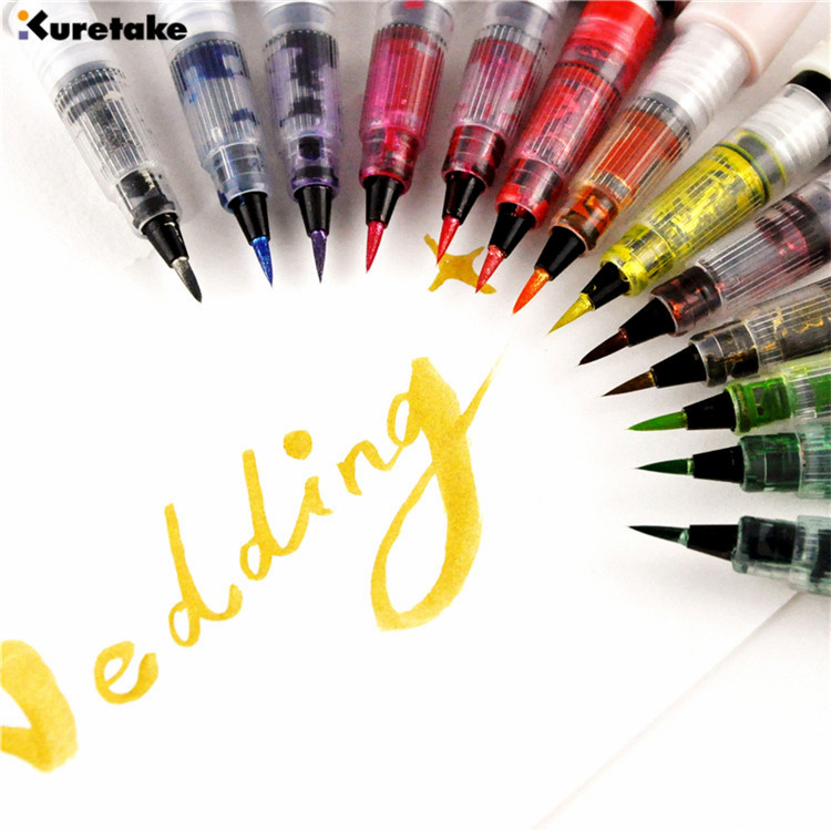 1pc Zig Kuretake MS-55 Wink Of Stella Glitter Brush Pen Multicolor Shiny Colored Soft Bling Brushes Calligraphy Lettering Pens