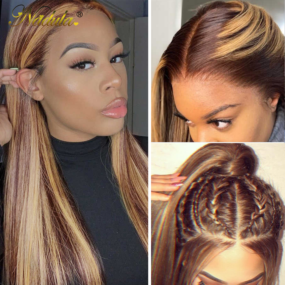 Nadula Hair Honey Blonde Brown Wig 13x4 HighLight Straight Hair Wig  100%  Wig 150%Density Piano Color 1