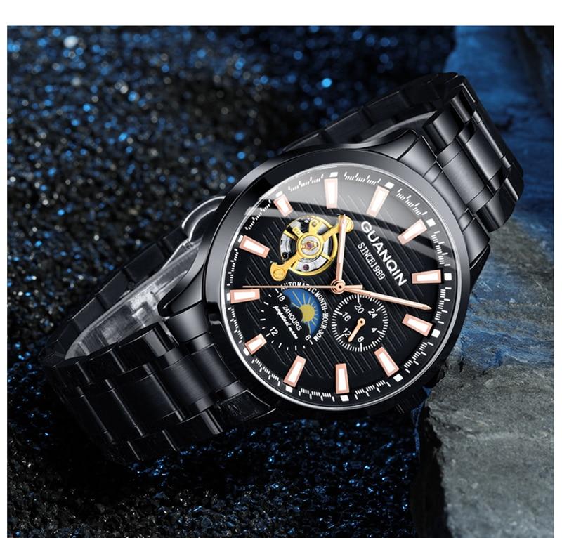 H25eb6f5a1d314a5693a0730ed3e5d33eS GUANQIN 2019 automatic watch clock men waterproof stainless steel mechanical top brand luxury skeleton watch relogio masculino