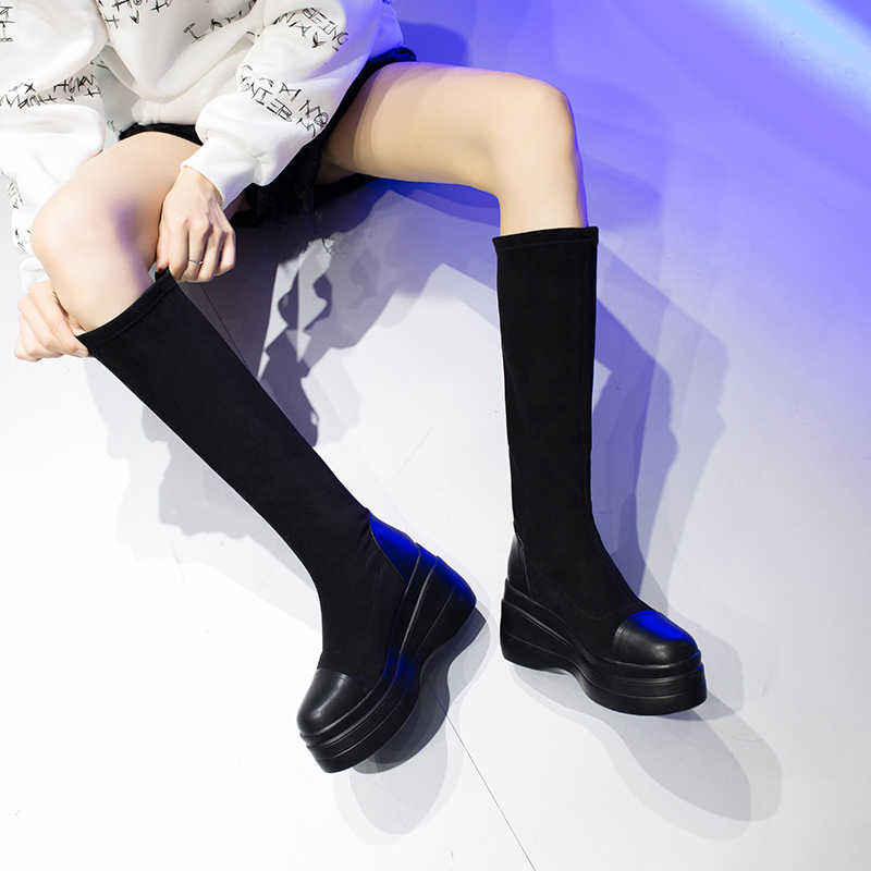 8.5 Cm Nêm Nền Tảng Đầu Gối Cao Giày Nữ Giày Nữ Giày Co Giãn Dài Giày Nữ Mùa Đông Giữ Ấm Mỏng Màu Đen Đẹp