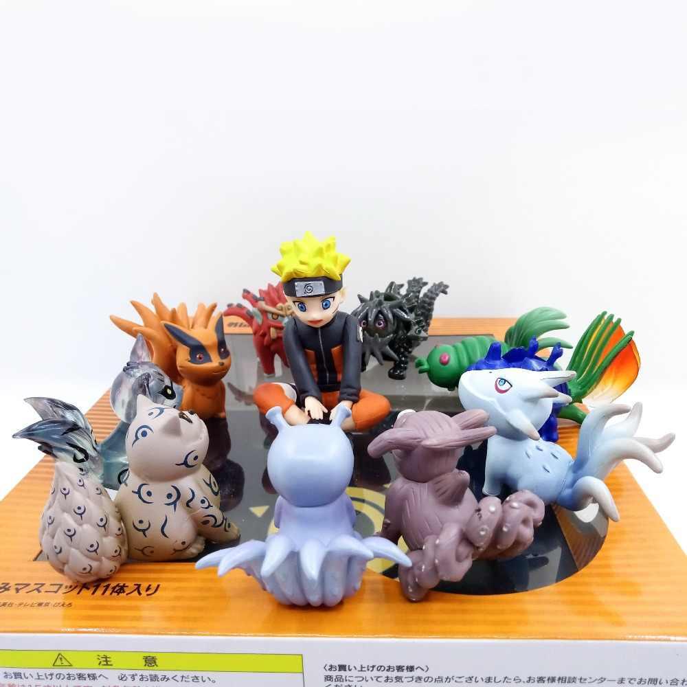 11 יח'\סט נארוטו פעולה איור PVC צעצועי תינוק Bijuu Kyuubi Kurama חג המולד ילדי אוסף דגם צעצועים