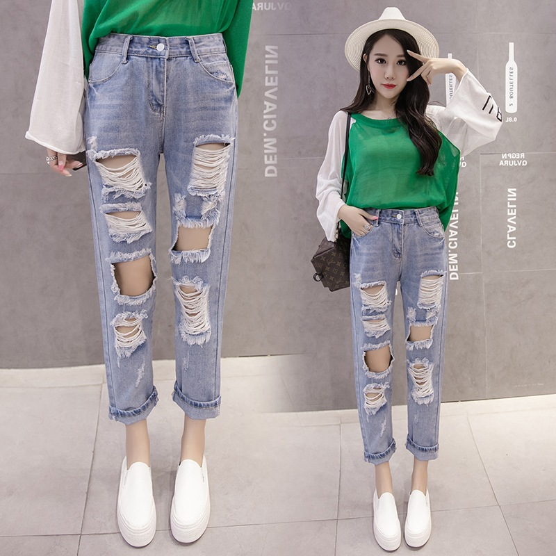 New Spring And Summer Korean-Japanese With Holes Capri Women's Spring And Summer New Style Slimming Students Straight-Cut Jeans