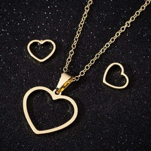 Gold Color Heart Pendants Necklace for Women Fashion Stainless Steel Hollow out Necklaces Wedding Jewelry Girl Gifts high quality fashion gents women stainless steel health jewelry anion fir germanium gold necklace pendants