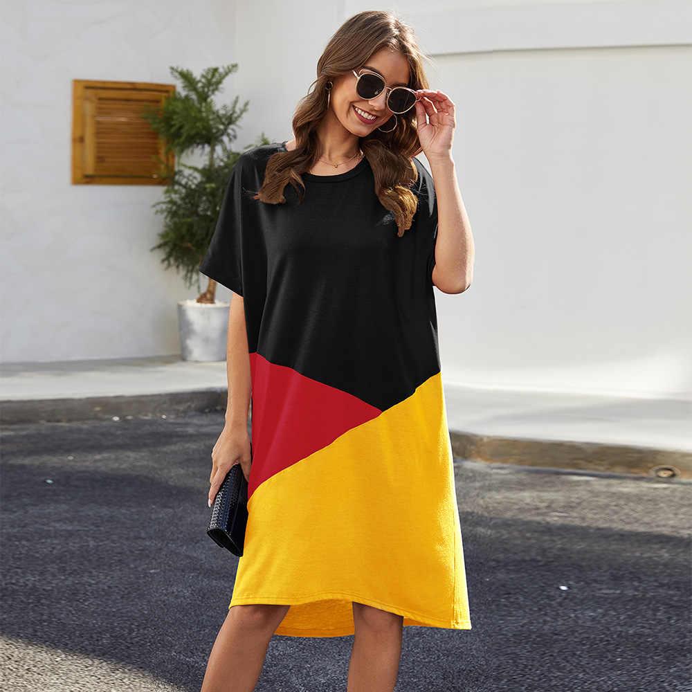 Baru Musim Semi Gaun Wanita Longgar Kasual Kerah Bulat Lengan Pendek Gaun Geometris Cetak Fashion Wanita Midi Gaun
