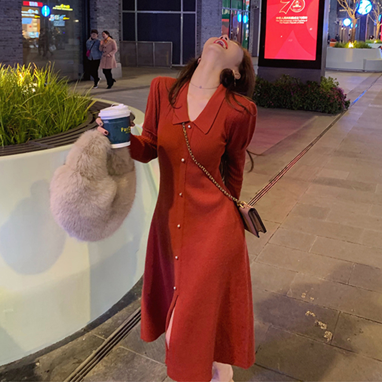 Knitted Sweater Dress Spring New Fashion Button Long Sleeve Dress Women Casual Knee Length Bodycon Dress Red