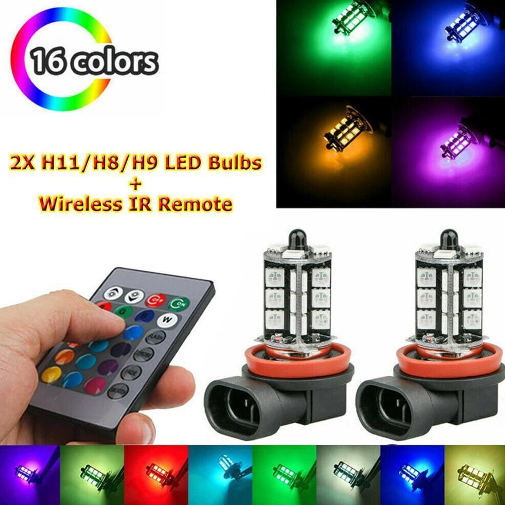 2 pces 12v 27smd 5050 multi-color rgb led luzes de nevoeiro condução lâmpadas remoto (para não incluir a bateria) 9005 9006 h7 h8 h11 7440 1156 27rgb
