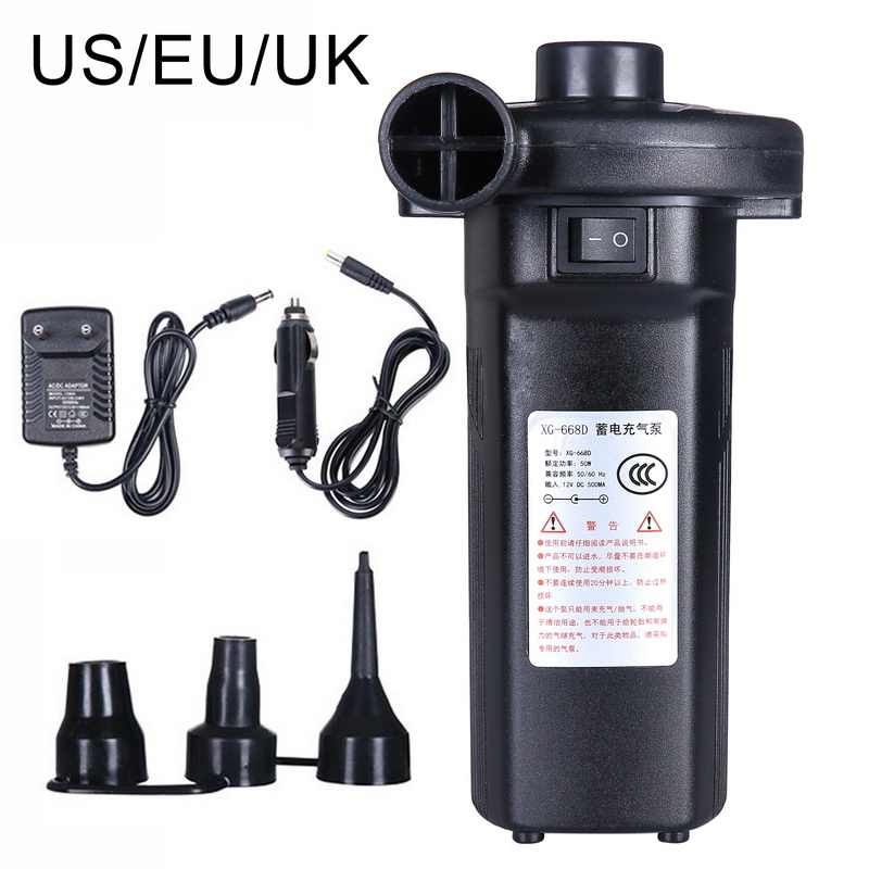 Rechargeable Electric Air Pump Suitable for Airbeds and inflatables 240v+12v UK