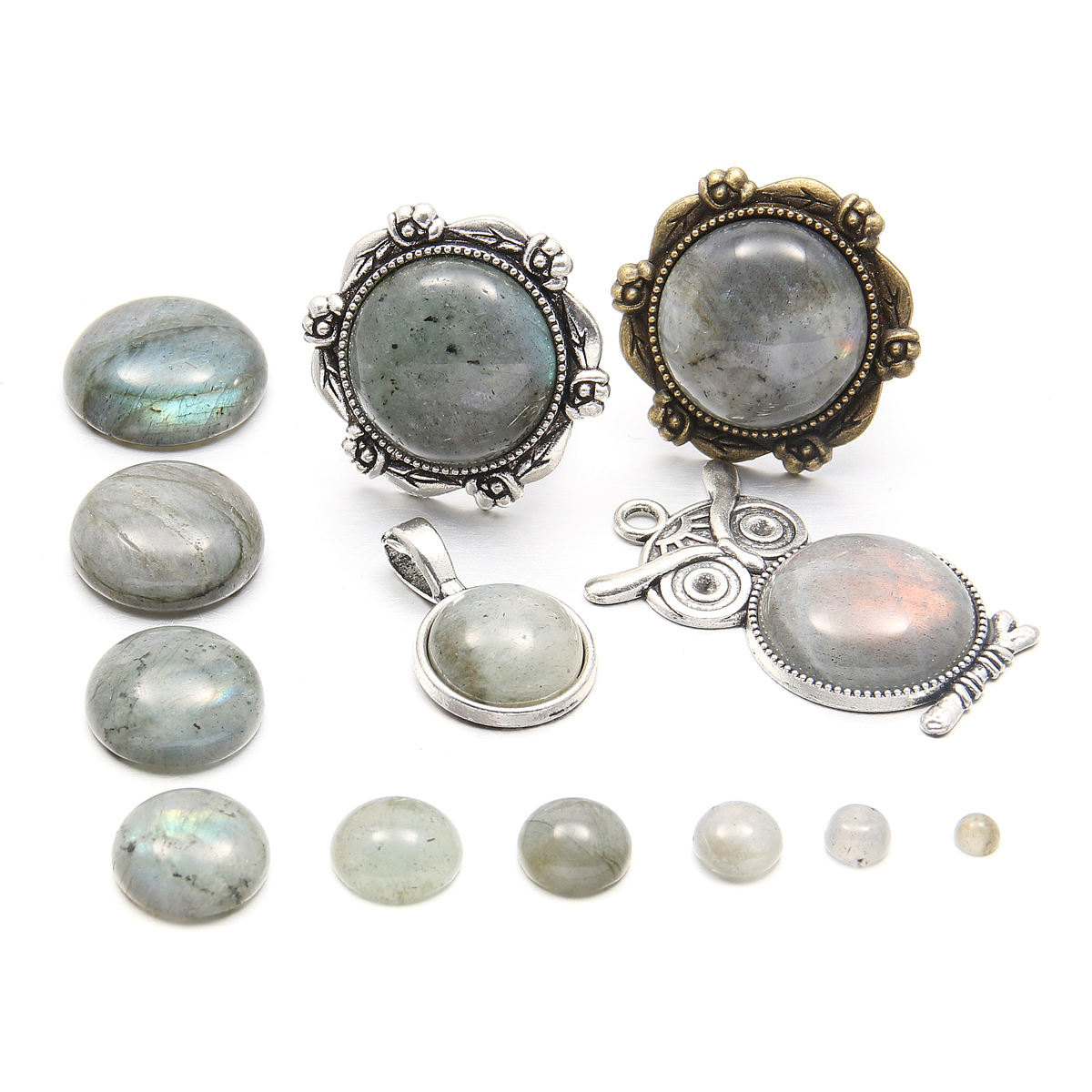 Natural Stones Flash Labradorite Cabochon 10 12 14 16 18 mmRound No Hole Beads for Making Jewelry DIY accessories Loose Beads