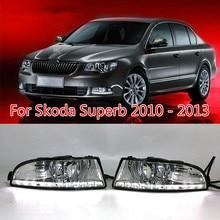 цены For Skoda Superb 2010 - 2013,Super Brightness Waterproof ABS Car DRL 12V LED Daytime Running Light With Fog Lamp Cover