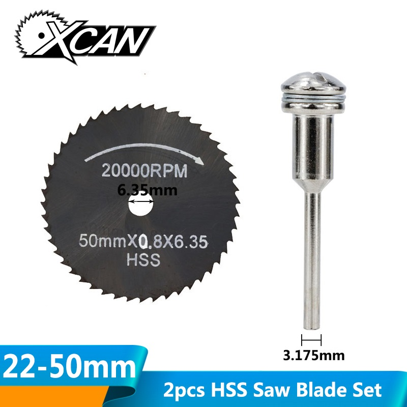 XCAN 2pcs 22-50mm HSS Mini Circular Saw Blade With 3.175mm Mandrel Nirtide Coated Cut Off Wheel Wood/Metal Cutting Disc