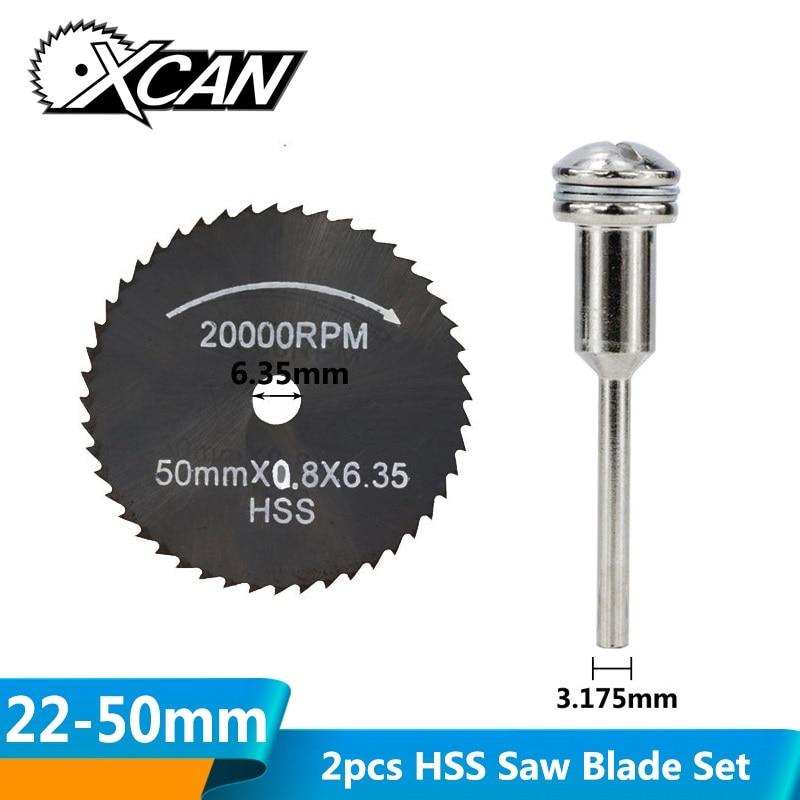 XCAN 2pcs 22-50mm HSS Mini Circular Saw Blade With 3.175mm Mandrel Nirtide Coated Cut Off Wheel Wood/Metal Cutting Disc