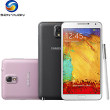 N9005 orijinal Unlocked Samsung Galaxy Note 3 16GB/32GB ROM + 3GB RAM 13.0MP 5.7 inç dört çekirdekli dokunmatik ekranlı akıllı telefon