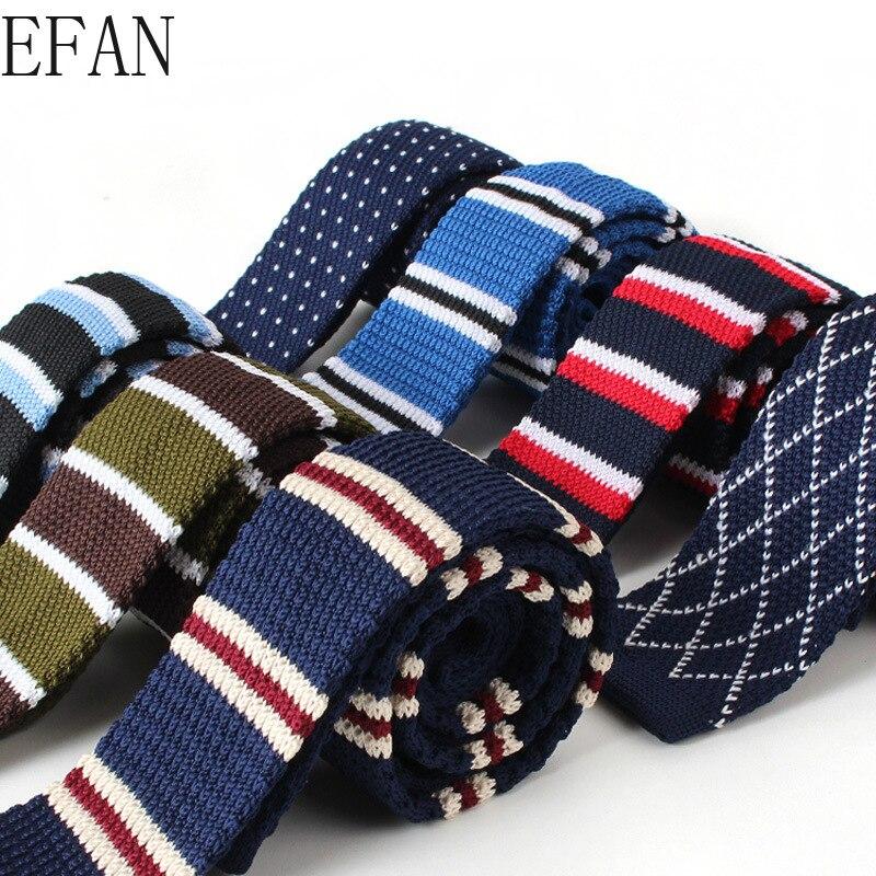 5cm Men's Knitted Knit Leisure Striped Tie Fashion Skinny Narrow Slim Neck Ties For Men Skinny Woven Designer Cravat