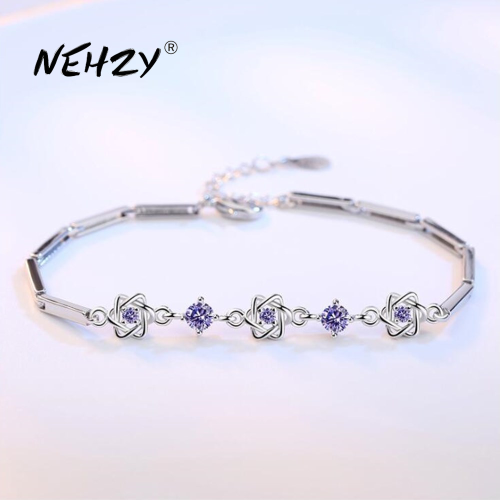 NEHZY 925 sterling silver jewelry bracelet high quality retro fashion woman purple crystal flower type bracelet length 20CM