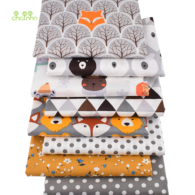 Chainho,8pcs/Lot,Jungle Animals Series,Printed Twill Cotton Fabric,Patchwork Cloth,DIY Sewing Quilting Material For Baby&Child 5