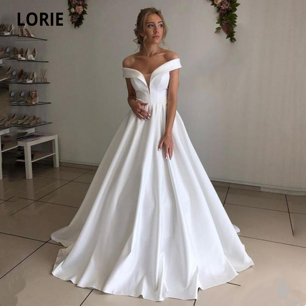 LORIE Off The Shoulder V-neck Satin Wedding Dresses 2020 White Ivory Back Lacing Bridal Gowns A-line Beach Princess Party Gowns