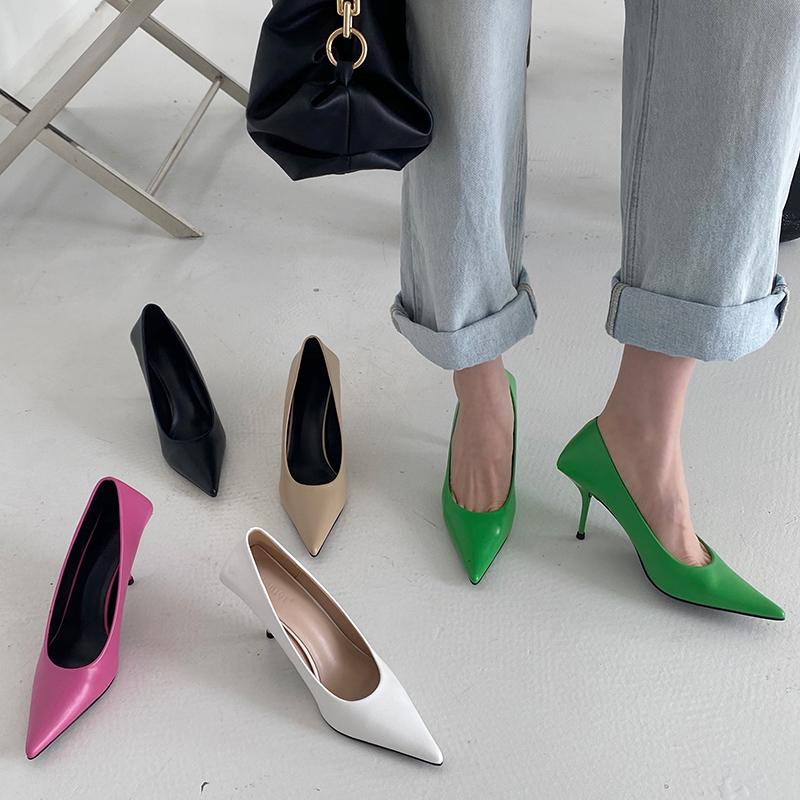 2021 Luxury Women 8cm High Heels Pumps Scarpins Office Ladies Designer White Green Black Heels Prom Stiletto Dress Party Shoes