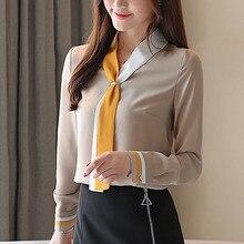 Autumn blouse women 2019 ladies tops long sleeve solid button blusas femininas shirts chiffon V-neck harajuku 0324
