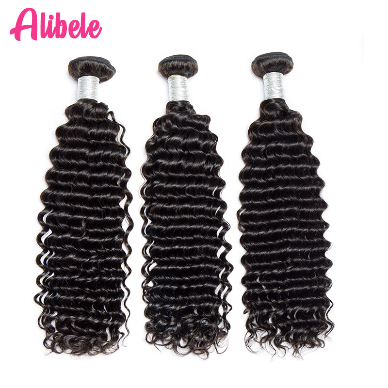 3 4 Bundles Malaysian Deep Curly Hair Bundle 10 28 Inch Remy Human Hair Weaves Alibele Hair Double Weft 100g/Bundle