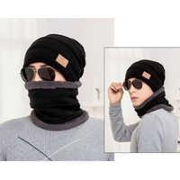 Conjunto de bufanda de cuello alto de invierno a la moda para hombre más gorro de lana acolchado de terciopelo шhat hat sombrero de hombre gorro gorro invierno hombre
