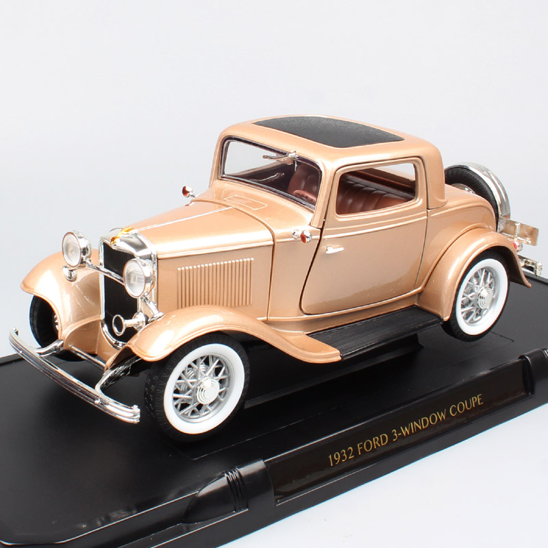 Children's 1/18 classics retro 1932 Ford Model B 3-Window Coupe Deuce Gold car scale Diecasts & Toy Vehicles auto Metal souvenir