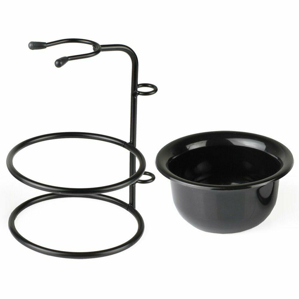 Black Shaving Bowl/ Mug+Stainless Steel Shaving Brush Razor Stand Holder Set