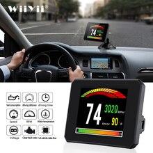 P16 novo carro head up display ferramenta de diagnóstico t816 obd2 gps 48 funções medidor digital dados drving computador alarme de segurança falha