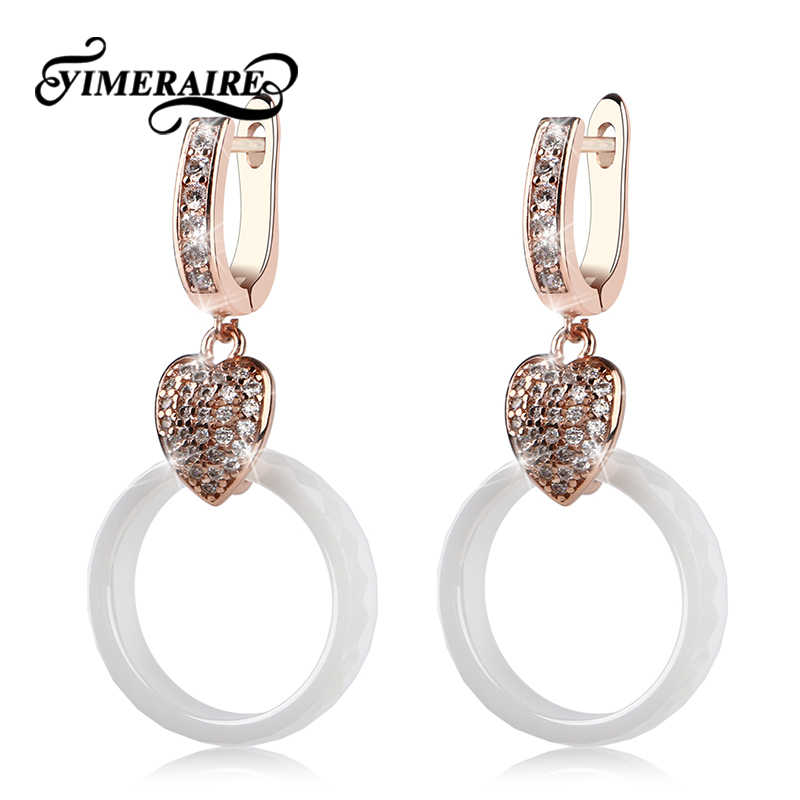 TUHE Healthy White Ceramic Hand Cut Section Circle Women Earrings Luxury Ear Drop Earrings Rose Gold Silver Metal With Crystal