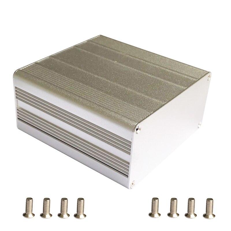 Işıklar ve Aydınlatma'ten Konnektörler'de Gümüş ekstrüde alüminyum muhafaza kutusu PCB enstrüman elektronik proje kutusu kasa DIY 100x100x50mm