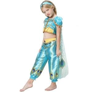 Image 4 - 2019 Meisjes Prinses Jasmijn Cosutmes Cape Kids Buikdans Jurk Kinderen Indian Kostuum Halloween Christmas Party Cosplay 2  10