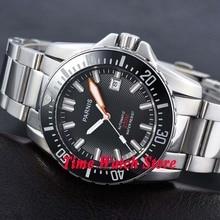 Stałe 43mm PARNIS 20ATM automatyczne nurkowanie męska zegarek szafirowe szkło Luminous ceramiczna ramka szkiełka zegarka czarna tarcza SS bransoletka 473