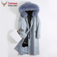 Parker long coat female autumn winter 2019 new rabbit cashmere fox fur collar casual jacket