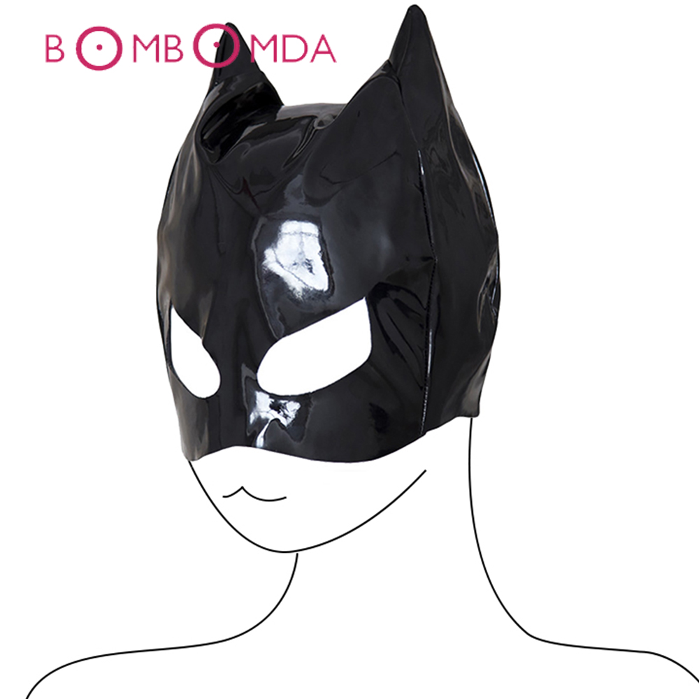 PU Leather Cat Head Mask BASM Adult Toy For Women Headgear Bondage Hood Fetish Slave Halloween Adult Games Erotic Toys For Women