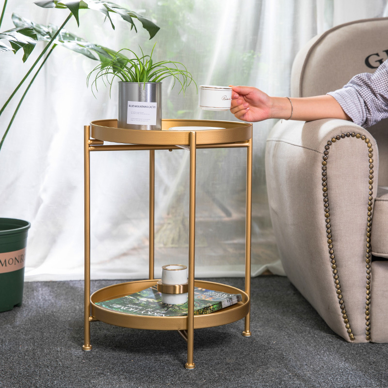 Простой железный двухслойный маленький чайный столик в скандинавском стиле, углы круглого журнального столика, подставка для комнаты, боко...